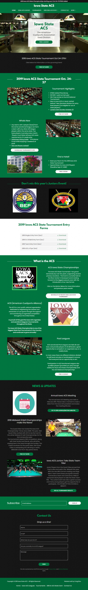 Full Page Iowa ACS Website